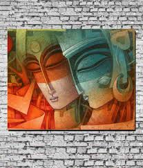 Canvas Painting Mesleep Radha Krishna Canvas Painting Without Frame Buy Mesleep