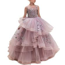 CQDY Floor Length <b>Ball Gown</b> Pageant Big <b>Girl Flower</b> Embroidery