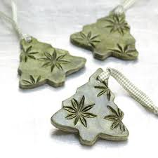 Ceramic Ornament With Natural Plant Impression Christmas
