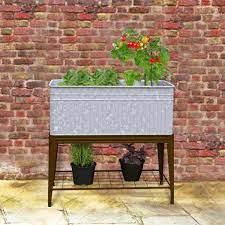 vintage metal stand up raised planter