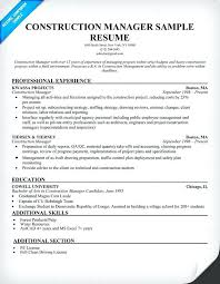 Sample Resume For Construction Manager Construction Manager Resume