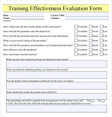 Words For Employee Evaluation Training Effectiveness Evaluation Form