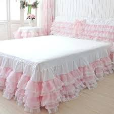 pink bed skirt full queen tulle princess lace ruffle pink korean style girls light pink bed pink bed skirt full