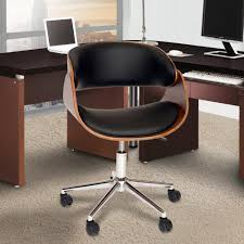black faux leather and chrome finish modern office chair