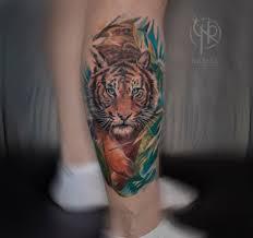 тату тигра на голени у девушки фото рисунки эскизы