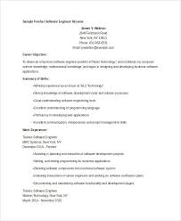 Resume Templates For Software Engineer Fresher