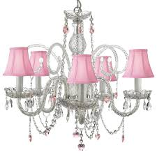 empress swarovski crystal trimmed 5 light plug in crystal chandelier with pink shades and