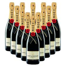moet chandon brut imperial chagne bottle in moet gift box crate of 12 chagne