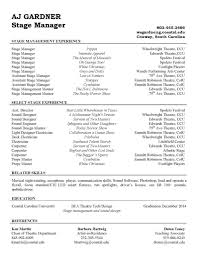 Stage Manager Resume Template Stage manager resume template sample endowed see moreover 1