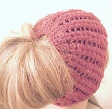 Free Crochet Pattern For Messy Bun Hat Amazing 48 Messy Bun Hat Patterns AllFreeCrochet