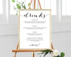 Drinks Menu Template Wedding Drinks Menu Template Wedding Templates And Printables 2