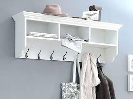 thin white floating shelf wall hanger hanging shelves spacious hooks and of antique coat with 7