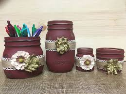 country office decor. Desk Organizer Set   Etsy Mason Jar Organizer, Storage, Country Office Decor, Rustic 4pc Wine Color Decor