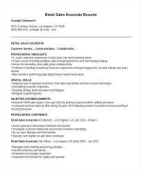 Sales Assistant Resume Resume Sample For Retail Retail Sales