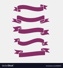 Purple Ribbon Banner 3d Flat Purple Ribbons Banner Set