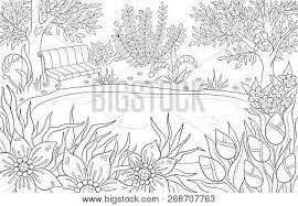 coloring page for and kids coloring book or bullet journal summer landscape with bench
