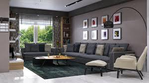 ... Living room, Modern Villa In Dammam By Mokhles Mohamed Blue Gray Living  Room Ideas Grey ...