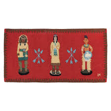 cigar indians hooked wool rug