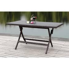 dilettie brown rattan folding patio dining table