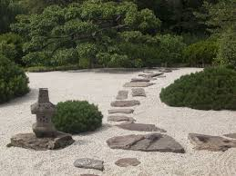 Stepping stones are perfect for a zen garden such as this. Zen gardens are  made
