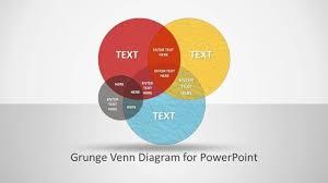 Venn Diagram Color Grunge Venn Diagram For Powerpoint Office Program Ppt