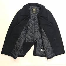 alpha industries pea coat usn jacket navy blue