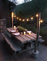 25 great ideas for creating a unique outdoor dining outdoor wood tablereclaimed dining tableoutdoor patio lightingdiy