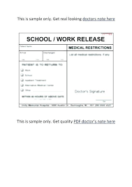 Fake Doctors Notes For Work Template Note Example Print Off21 Free