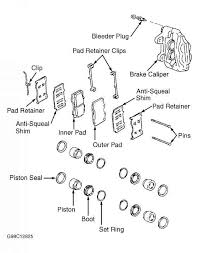 note pushing piston into caliper bore will force fluid back into 2007 Toyota Corolla Front Diagram 4 exploded view of front brake caliper assembly (land cruiser) courtesy of toyota motor sales, u s a , inc 2009 Toyota Corolla Diagram