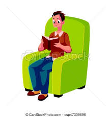 young man boy reading book sitting fortably in armchair csp47309696