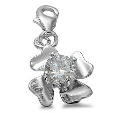 charms clover lucky charm cubic zirconia pendant for necklace bracelet real 925 silver