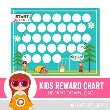Kids Reward Chart Summer Camping Outdoors Behavior Chart Chore Chart