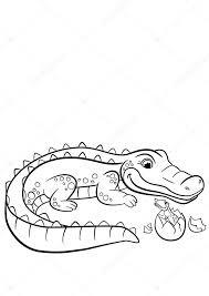 Kleurplaten Dieren Moeder Alligator Kijkt Naar Haar Beetje Cu