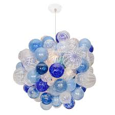 glass bubble chandelier lighting. White And Blue Glass Bubble Chandelier For Dining Room Ceiling Lighting Decorating
