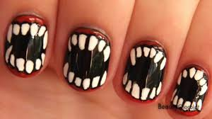 Halloween Fangs Nail Art for Short Nails -- Vampire/Werewolf ...