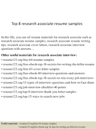 Top 8 research associate resume samples In this file, you can ref resume  materials for ...