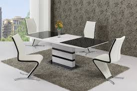 black glass white high gloss extendable dining table and 8 chairs set