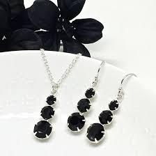 black 3 stone pendant necklace three stone necklace set prom jewelry black crystal necklace