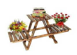 2 tier wood shelf plant stand bathroom rack garden planter pot holder carbonized