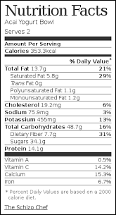 nutrition label for acai yogurt bowl