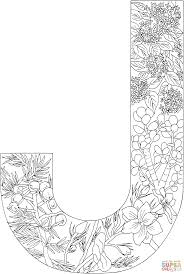 Letter J With Plants Coloring Page