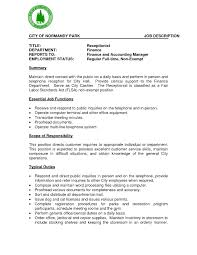 Amusing Receptionist Responsibilities Resume with Receptionist Job  Description Resume