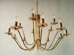 mid century modern gold plated 24 carat 15 arms chandelier by stilkronen 1960s