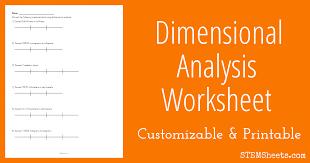 Dimensional Analysis Worksheet | STEM Sheets