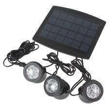 3 solar powered flood lights