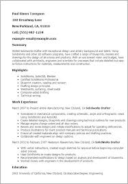 Resume Templates: Solidworks Drafter