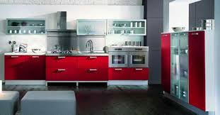 grey and red kitchen designs