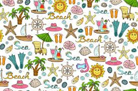 Summer Pattern Magnificent Pattern With Summer Symbols Graphic Patterns Creative Market