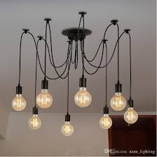 vintage industrial e27 st64 g80 bulb black cable wire spider pendant lights lamps 2 meters wire hanging lights for dining room kitchen loft glass pendant