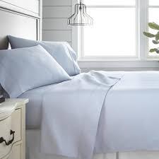 becky cameron 4 piece light blue 300 thread count cotton king bed sheet set